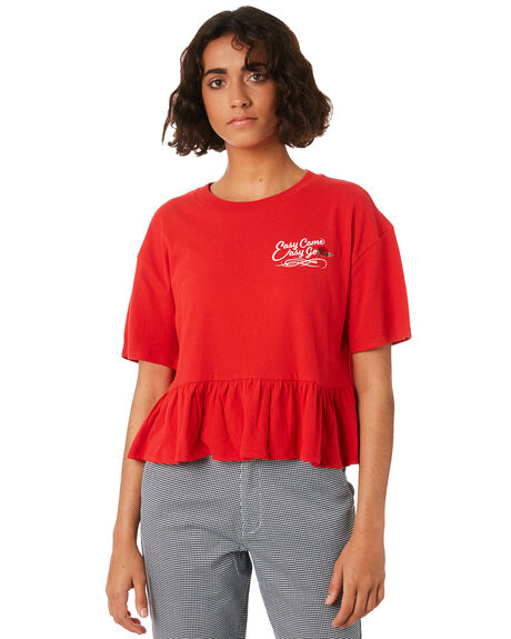 RED WOMENS CLOTHING VOLCOM TEES - B0141815RED