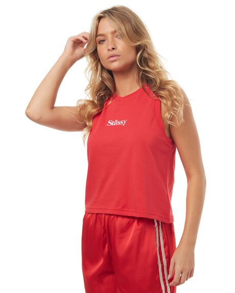 RED WOMENS CLOTHING STUSSY SINGLETS - ST172032RED
