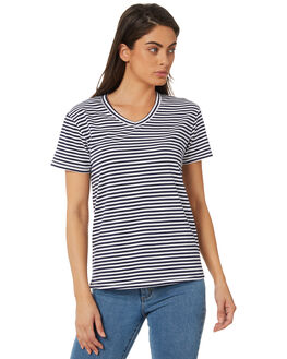 NAVY STRIPE OUTLET WOMENS SWELL TEES - S8183004NVYWH
