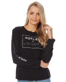 BLACK WOMENS CLOTHING HURLEY TEES - AGTLFUTL00A