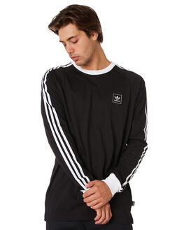 BLACK WHITE MENS CLOTHING ADIDAS TEES - DU8394BLK