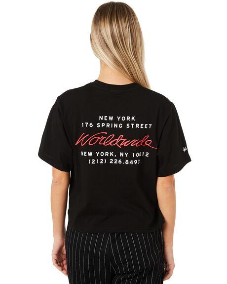 BLACK WOMENS CLOTHING STUSSY TEES - ST187016BLK