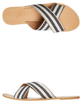NAVY CREAM STRIPE WOMENS FOOTWEAR BILLINI SLIDES - S405NVYST