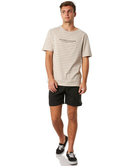 BLACK WHITE MENS CLOTHING RHYTHM SHORTS - JUL18M-JM08BLK