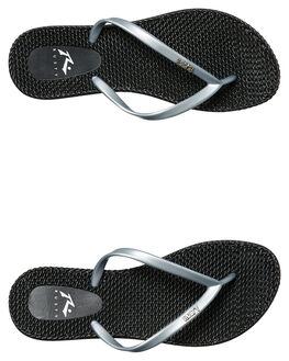 BLACK SILVER WOMENS FOOTWEAR RUSTY THONGS - FOL0196BSL