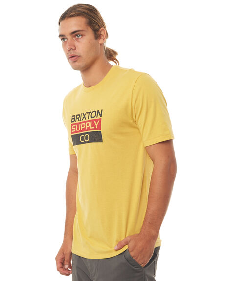 WASHED YELLOW OUTLET MENS BRIXTON TEES - 06792WAYEL