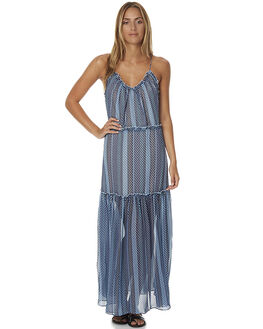 BLUE GEO PRINT WOMENS CLOTHING FINDERS KEEPERS DRESSES - FF161015DPRT