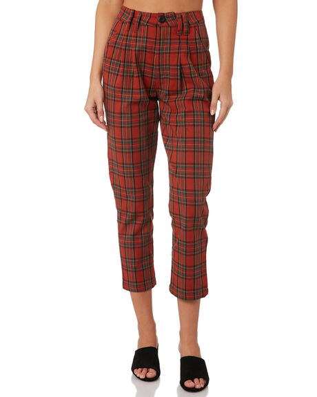 RED PLAID WOMENS CLOTHING THRILLS PANTS - WTW9-403HREDP