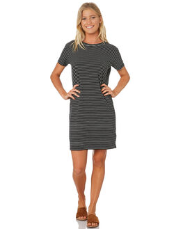 BLACK STRIPE WOMENS CLOTHING SWELL DRESSES - S8188441BLKST