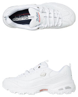 WHITE NAVY RED WOMENS FOOTWEAR SKECHERS SNEAKERS - 11931WNVR
