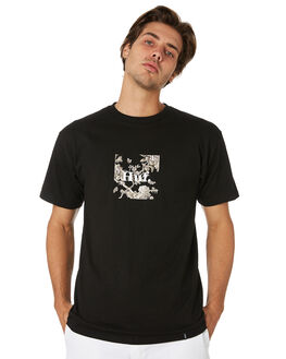 BLACK MENS CLOTHING HUF TEES - TS00582-BLACK