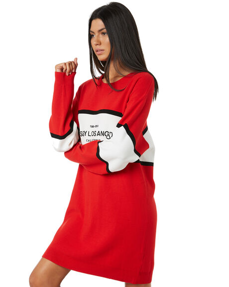 RISKY RED WOMENS CLOTHING STUSSY DRESSES - ST195502RED
