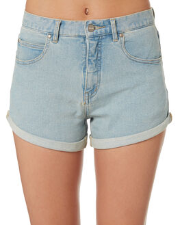STONE BLUE WOMENS CLOTHING AFENDS SHORTS - W181302-STNBL