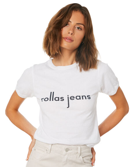 WHITE OUTLET WOMENS ROLLAS TEES - 12827WHI