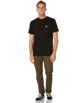 BLACK MENS CLOTHING HUF TEES - TS63016BLK