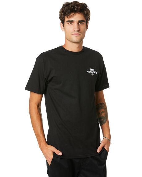 BLACK MENS CLOTHING HUF TEES - TS01012-BLACK