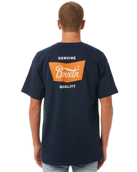 NAVY ORANGE MENS CLOTHING BRIXTON TEES - 06560NVORG