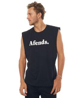 BLACK MENS CLOTHING AFENDS SINGLETS - 01-08-018BLK