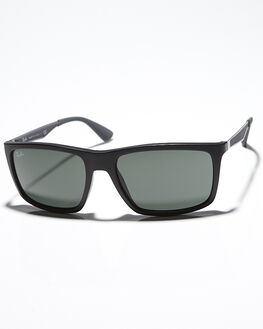 MATTE BLACK GREEN MENS ACCESSORIES RAY-BAN SUNGLASSES - 0RB422858601S7
