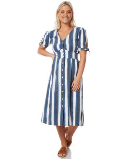 NAVY WHITE STRIPE WOMENS CLOTHING THE HIDDEN WAY DRESSES - H8183441NWHST