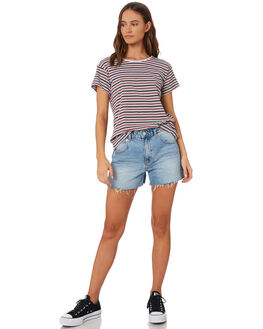 BURGUNDY NAVY STRIPE WOMENS CLOTHING SILENT THEORY TEES - 6085039-BURG