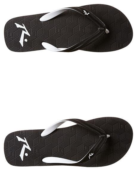 BLACK WHITE MENS FOOTWEAR RUSTY THONGS - FOM0315BWT