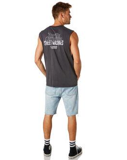 VINTAGE BLACK MENS CLOTHING THRILLS SINGLETS - TS8-117VBVNBLK
