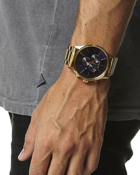 6a2316ca7 Nixon The Sentry Chrono Watch - Gold Blue Sunray | SurfStitch