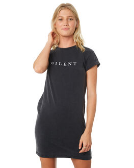 WASHED BLACK WOMENS CLOTHING SILENT THEORY DRESSES - 6022049WBLK