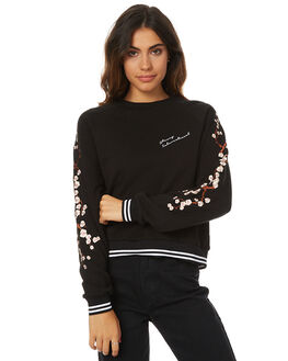 BLACK WOMENS CLOTHING STUSSY JUMPERS - ST176308BLK