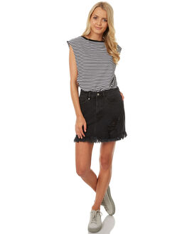 FADED BLACK WOMENS CLOTHING THRILLS SKIRTS - WTDP-316BFBLK