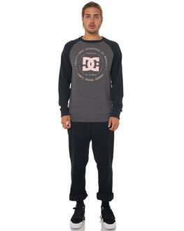 BLACK CHARCOAL HEATH MENS CLOTHING DC SHOES JUMPERS - EDYSF03106XKKK