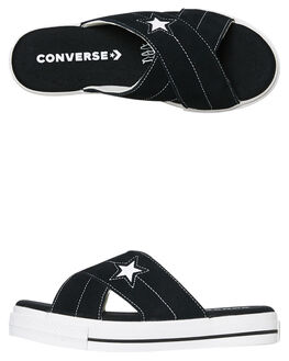 BLACK WOMENS FOOTWEAR CONVERSE SLIDES - 564143CBLK