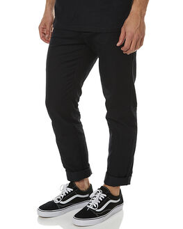 BLACK RINSED MENS CLOTHING CARHARTT PANTS - I003367-89-02BLKR
