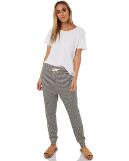 BLACK WHITE STRIPE WOMENS CLOTHING SWELL PANTS - S8182192WHBKS