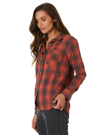 RED CHECK WOMENS CLOTHING THRILLS FASHION TOPS - WTW9-209HREDC