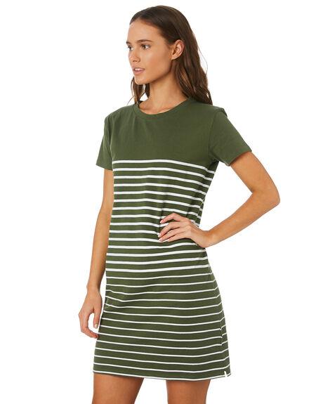 KHAKI STRIPE WOMENS CLOTHING SWELL DRESSES - S8201447KHSTP