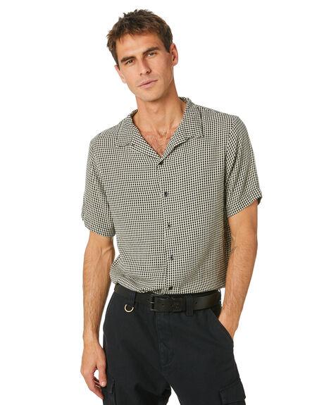 BLACK MENS CLOTHING THRILLS SHIRTS - TH20-206BBLK