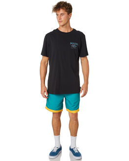 WASHED BLACK MENS CLOTHING RIP CURL TEES - CTERV20090