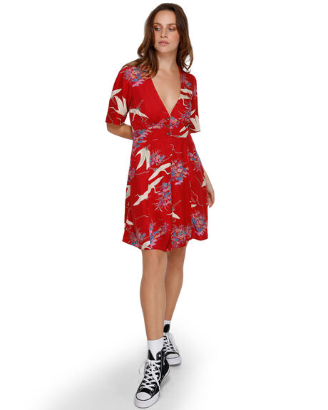RED WOMENS CLOTHING RVCA DRESSES - RV-R291756-RED