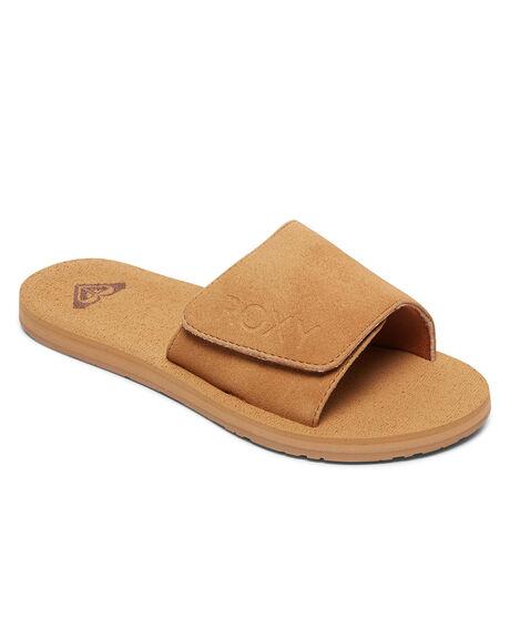 TAN WOMENS FOOTWEAR ROXY SLIDES - ARJL100844-TAN