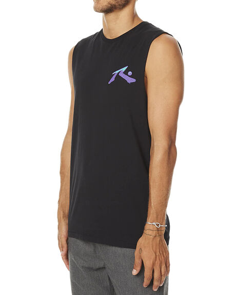 BLACK MENS CLOTHING RUSTY SINGLETS - MSM0206BLK