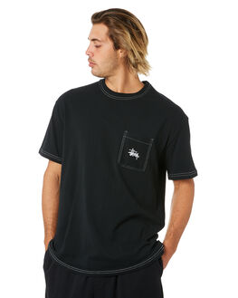 BLACK MENS CLOTHING STUSSY TEES - ST006004BLK