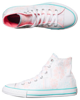 WHITE PINK KIDS GIRLS CONVERSE HI TOPS - 658085WHT