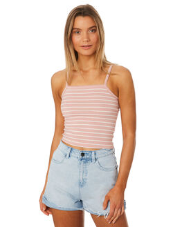 BLUSH STRIPE WOMENS CLOTHING ALL ABOUT EVE SINGLETS - 6405039STR