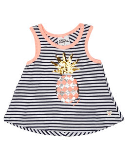 NAVY WHITE KIDS TODDLER GIRLS EVES SISTER SINGLETS - 8021011NVWHT