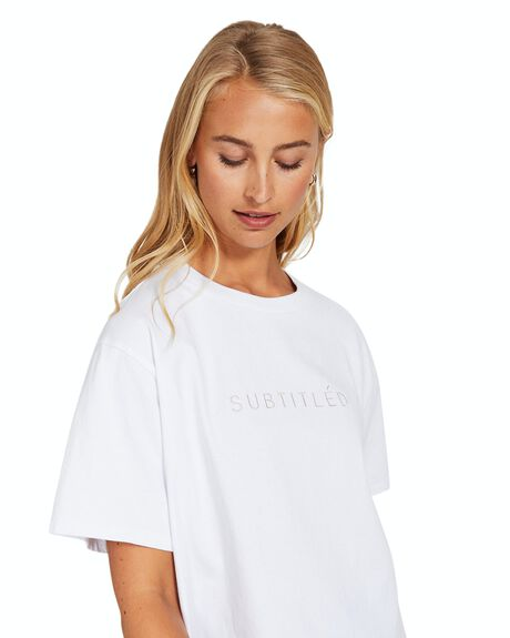 WHITE WOMENS CLOTHING SUBTITLED TEES - 35580500023