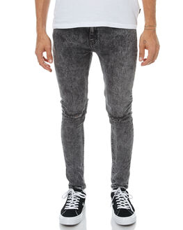 BLACK ACID MENS CLOTHING AFENDS JEANS - 12-05-001BKAC