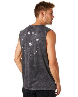 BLACK ACID WASH MENS CLOTHING AFENDS SINGLETS - M184089BLKAC
