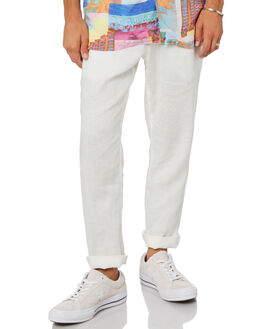 WHITE LINEN MENS CLOTHING BARNEY COOLS PANTS - 701-PEC1WHIL